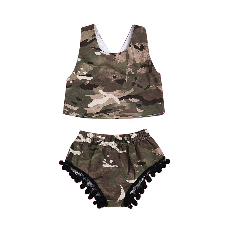 Girls' Baby Clothing Apprehensive Newborn Kids Baby Girl Clothes Set Camo Tops Vest Sleeveless Shorts Casual Cotton Tassel Outfits Clothing Girls 3m-3t 2pcs Quality And Quantity Assured Mother & Kids