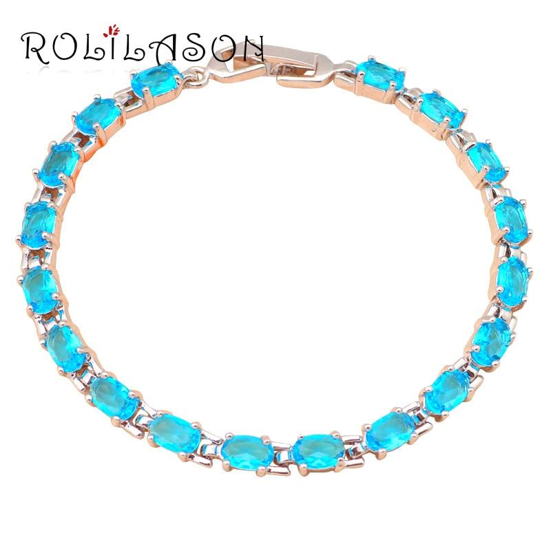 Aliexpress Plus Bas prix Marque Nouveau design AAA Zircon Bleu Clair cristal Bracelets pour femmes dîner Bijoux De Mode TBS728
