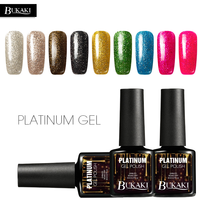 BUKAKI 1pcs Glitter UV Platinum Gel Varnish Shiny Nail Gel