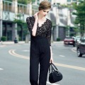 Hot!Top Quality New Fashion Autumn Jumpsuit Women Lace Patchwork V-Neck 3/ Sleeve Elegant Jumpsuit Rompers OL Ladies Work Wear