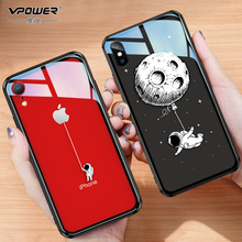 Para o iphone X XR 7 8 plus caso 6d menina pintado vidro temperado à prova de Explosão clara tampa de vidro Para iphone xr 7 8 além de caixa De Vidro