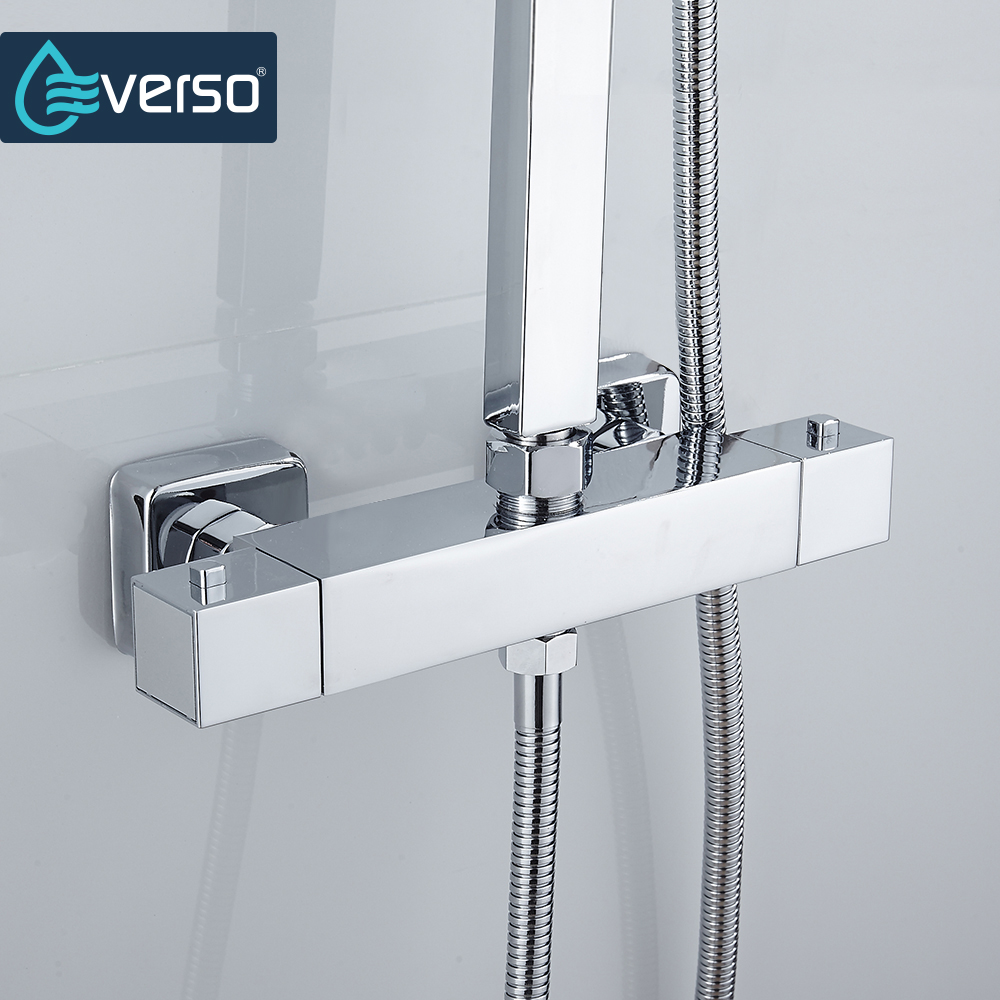 EVERSO Thermostatic Mixing Valve Bathroom Shower Set Thermostatic Control Shower Faucet Shower Mixer luxury thermostatic shower faucet mixer water tap dual handle polished chrome thermostatic mixing valve torneira de parede tr511