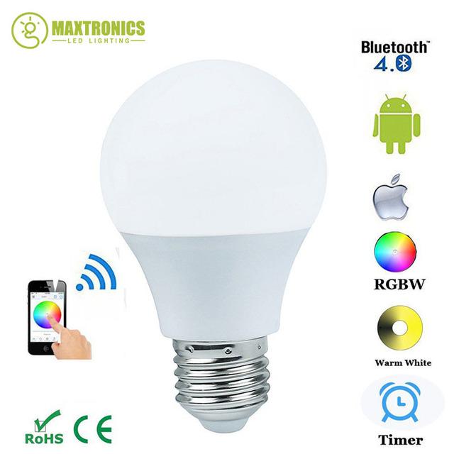 Nova Magia Azul 4.5 W E27 RGBW lâmpada led Bluetooth 4.0 mudança de cor da lâmpada de iluminação inteligente regulável AC85-265V para casa hotel