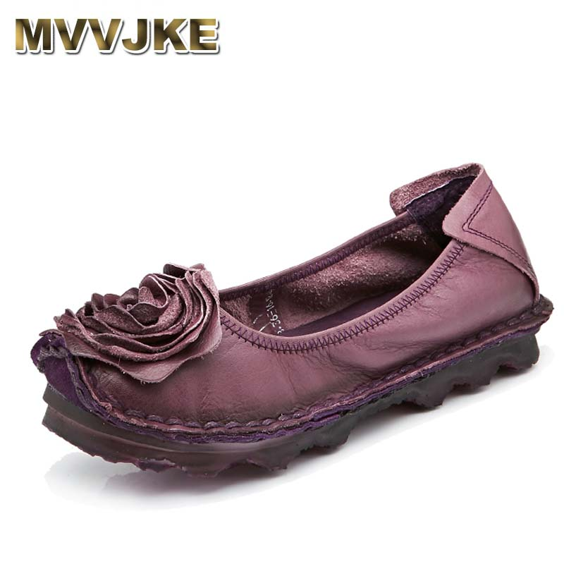 MVVJKE  Plus Size Shoe Woman Flat Genuine Leather Women Brand Casual Shoes Loafers Fashion Flower Flats Moccasins Ladies Shoes lankarin brand 2017 summer woman pointed toe flats ladies platform fashion rivet buckle strap flat shoes woman plus size
