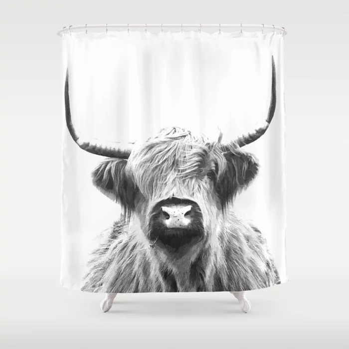 portrait of a highland cow shower curtain waterproof polyester fabric bathroom decor printed shower curtain with 12 hooks