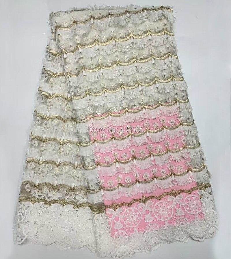 ADF161 Bianco (5 yards/lot) Africano del merletto di Filo D'oro, Appliqued tessile tessuto del merletto, di alta qualità 4 di colore tessuto di pizzo francese-in Pizzo da Casa e giardino su  Gruppo 2