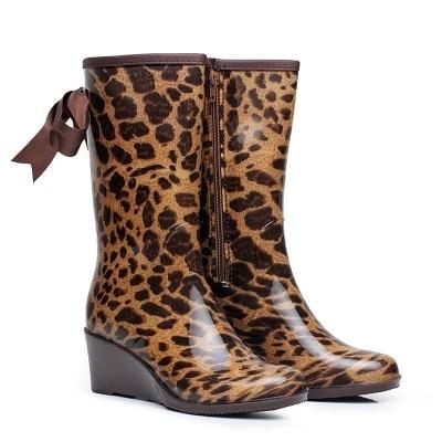 British classic high tube waterproof fashion rain boots ladies set feet with Leopard wedge Bow rain boots women autumn winter|Knee-High Boots| |  - title=
