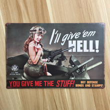Free ship SEXY BEAUTY LADY I WILL GIVE HELL ARMY Plaque Vintage Tin Sign Retro Metal Iron bar pub cafe plate 20x30cm