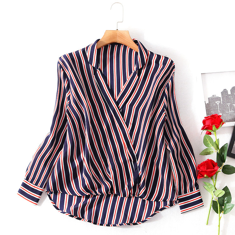 V образным вырезом шелка в полоску свободные Пуловеры Блузка 2018 Новый ВПП Женщины Весна осень рубашки высокого качества офис леди большие р
