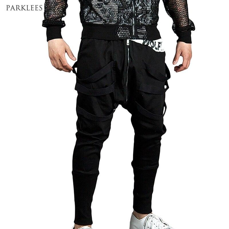 Mens Joggers Men Low Crotch Pants Trousers Sweatpants Harem Pants Men Cross Pants Men Pantalones Hombre Male Long Zipper Pants