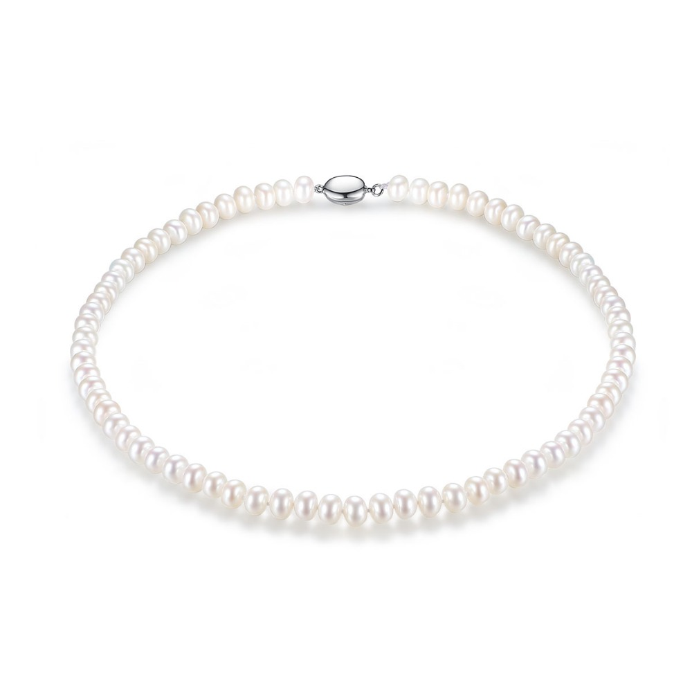 Luxury Elegant Woman Pearl Beads Necklace White Pink Multicolor True Pearls Wedding Party Necklace