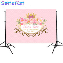 SXY1462 Pink Little Princess Photography Backdrops 1st Birthday Theme Party Photo Shoot Backgrounds Studio Gold Crown photobooth(China)