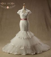 Tenille Inspired Lace Mermaid Wedding Dresses with Removable Short Sleeved Bolero Jacket
