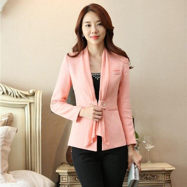 14f1b44f78c4 € 28.76 5% de DESCUENTO|Moda mujer Formal chaquetas y chaquetas con bufanda  Rosa Blaser mujer ropa de negocios Oficina uniforme diseños en chaqueta de  ...