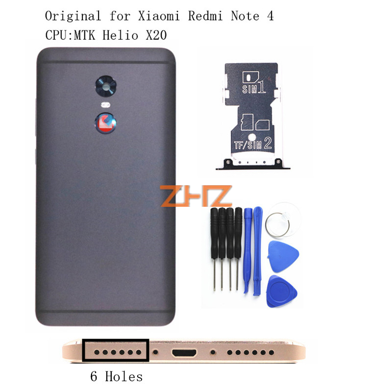 Original For Xiaomi Redmi Note 4 MTK Battery Back Cover Rear Door Housing + Side Key Card Tray Holder Replacement Spare Parts