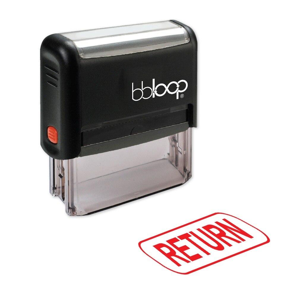 BBloop RETURN W/Border Box Self-Inking Stamp, Rectangular, Laser Engraved, RED/BLUE/BLACK 10 digit 9 wheels gray light blue rubber band self inking numbering stamp