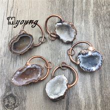Nature Agates Druzy Geode Pendant,Rough Quartz Druse Charms With Antique Finish loop  MY1819