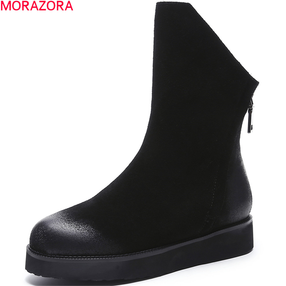 MORAZORA 2018 fahsion women boots black zipper cow suede ladies boots flat with round toe leather ankle boots big size 34-43 new arrival women genuine leather flat ankle boots fashion round toe lace up ankle boots for women ladies casual cow suede boots