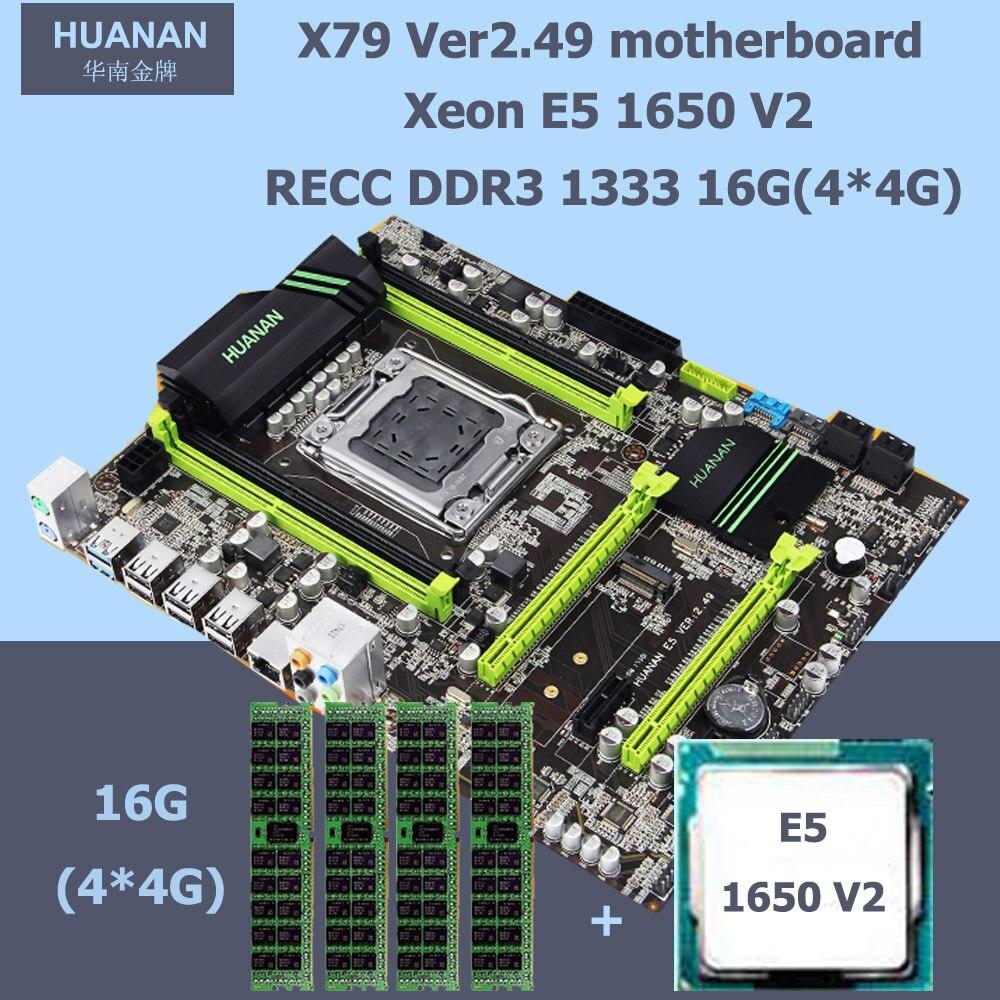 Nouvelle arrivée HUANAN ZHI matériel informatique X79 LGA2011 carte mère avec M.2 slot CPU Intel Xeon E5 1650 V2 RAM 16g (4*4g) REG ECC