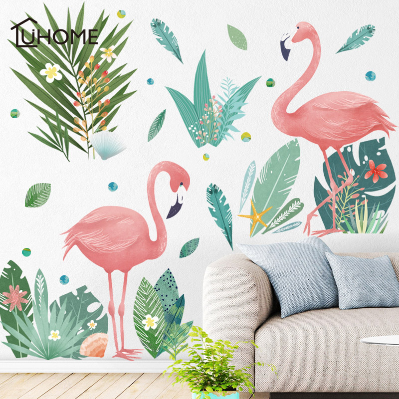 Nordic Style Leaf Flamingo DIY Vinyl Wall Stickers for Living Room Girl  Bedroom Mural Art Wallpaper Home Decoration