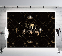 30th 50th 40th 60th Happy Birthday Photography Backdrops Black and Golden Crown Photo Background for Women Booth  LW-1140