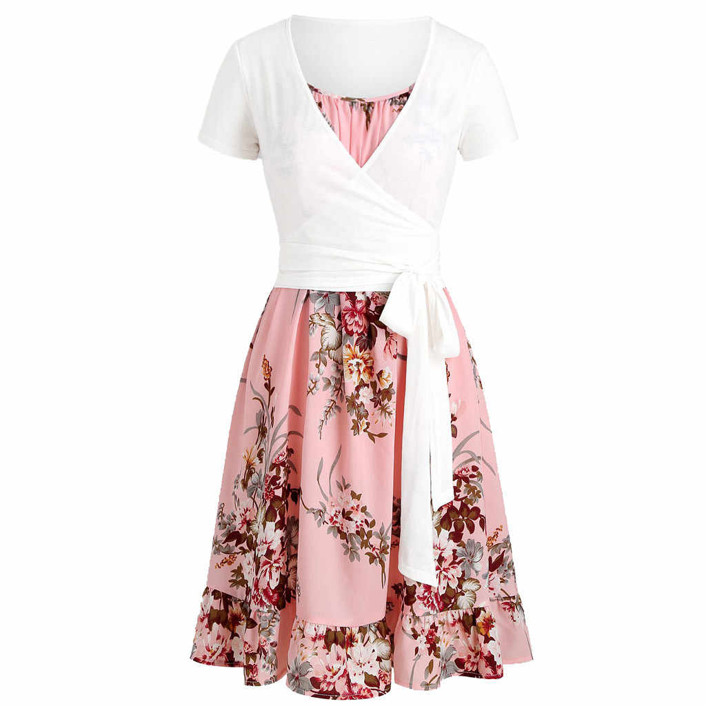 2Pcs Women Casual Summer Mini Dress Short Sleeve Bohemian Style Flower Print Sundress Bandage Bow Lace Up Front Ruffles Dresses