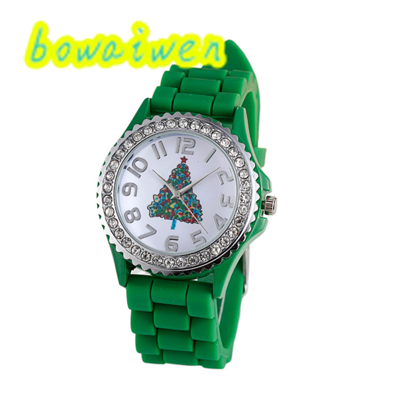 bowaiwen # 0005 Unisex watches Christmas Silica Gel Quartz Analog Watch as Christmas Gift Christmas Tree pasther 0005