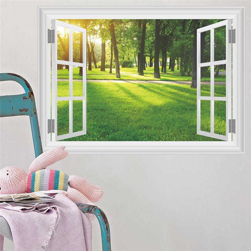 3D эффект природа пейзаж окном View Наклейки на стену Домашний Декор Гостиная PVC Стены Таблички Книги по искусству росписи DIY плакат