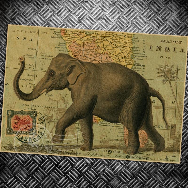 Elefante Animal Do Cavalo Do Vintage Poster Retro Arte Da Parede