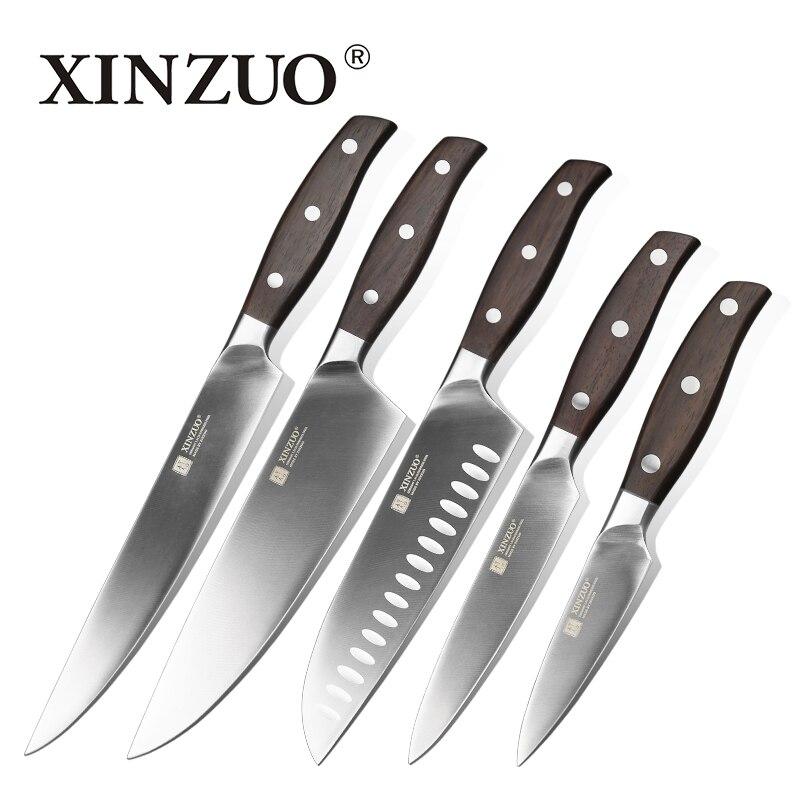 XINZUO Новый высокое качество 3,5 + 5 + 8 + 8 + 8 дюймов сравнивая утилита Тесак шеф-повар хлебный Ножи нержавеющая сталь Кухня Ножи комплекты Бесплат...