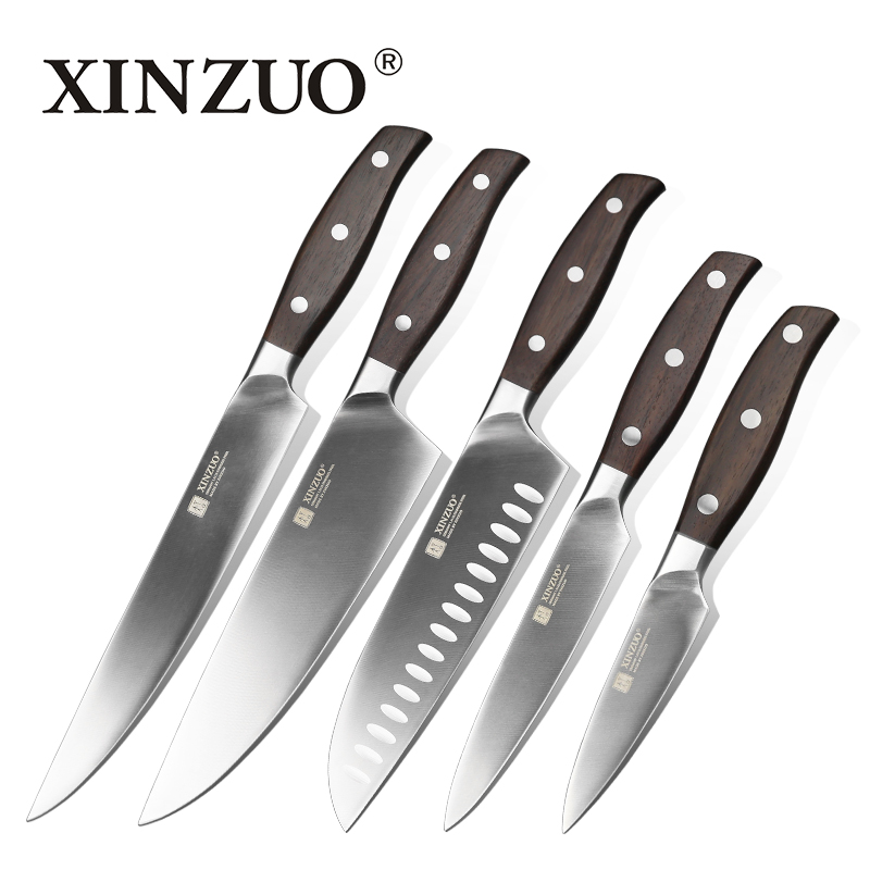 XINZUO High Quality 3.5+5+8+8+8 inch Paring Utility Cleaver Chef Bread Knife Stainless Steel New Kitchen Knives Sets Razor Sharp
