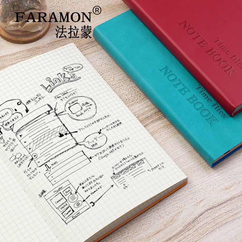 FARAMON Checkered Notebook Thick Notepad Grid Book 1PCS