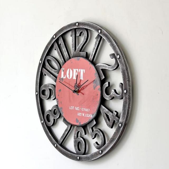 40CM Vintage Wood Hollow Out Numbers Decorative Wall Clock Characteristic Home Office Cafe Bar Deco