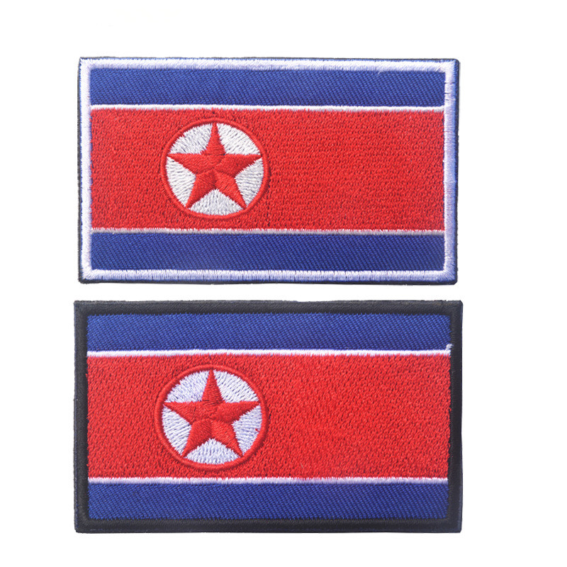 1PCS Full Embroidery North Korea Flag Patch Backpack Bag Jacket Armband Badge Hook and Loop Sticker image