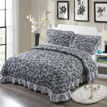 Grey Jacquard Quilt Bedspread Queen King Bed set Mattress topper Bed cover cubrecama Cotton Bed spread colcha de cama couvre lit