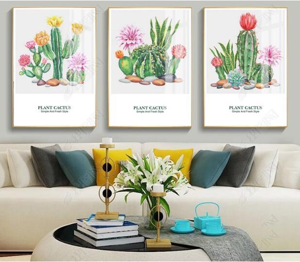 XXL Moderne Minimalistische Nordic Abstractie Letters Cactus 3 stuks Canvas Schilderij Muur Foto Decoratieve poster voor Woonkamer-in Schilderij & Schoonschrift van Huis & Tuin op  Groep 1