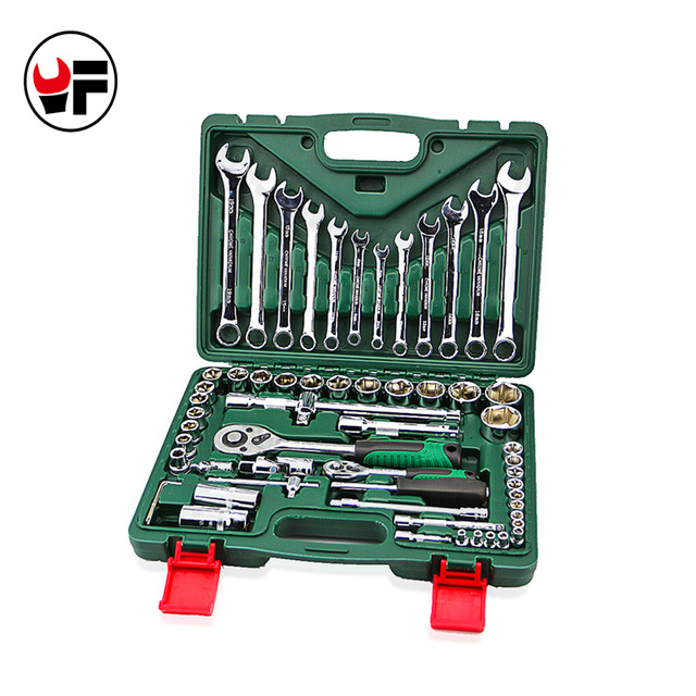 61pcs torque socket wrench set with ratchet spanners llave carraca 1/4 hand tools universal head for car repairs kit DN104 12pcs professional fixed head spanners ratchet wrench socket spanner set 8 19mm