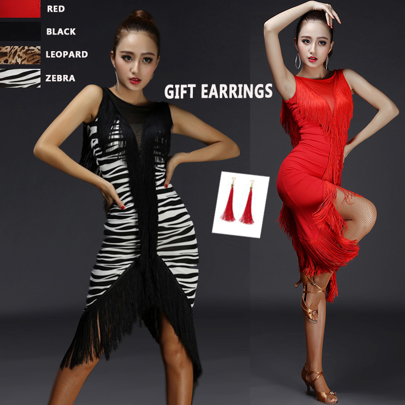 Latin Dance Dress Women Tassel V Type Mesh Dance Wear Whole Body Tassel Line Salsa Fringe
