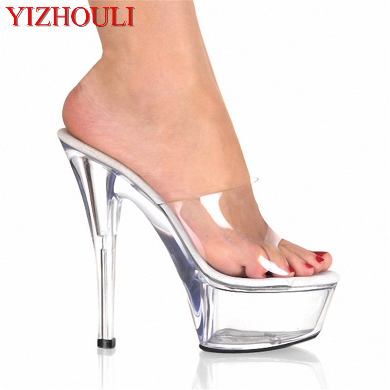 Gorgeous 15cm Ultra High Heels Fashion Slippers Bride Sexy Crystal Shoes 6  Inch Clear High Heel Platform Exotic Dancer Shoes 8f0dd0a5b017