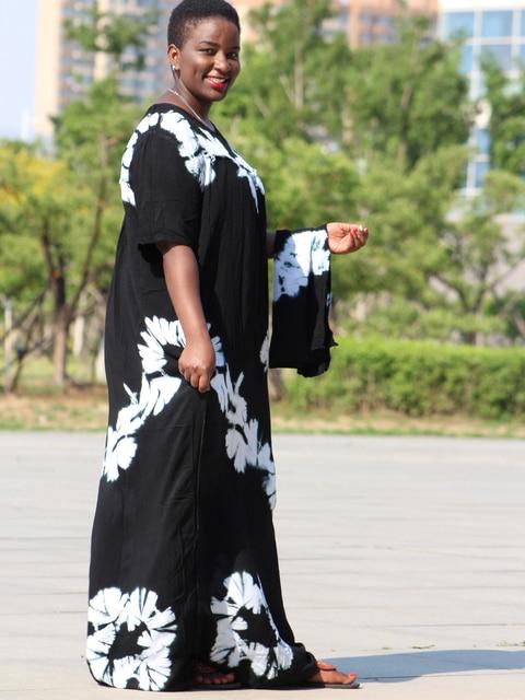Dashikiage black cotton soft textured comfortable dress with a big scarf 3