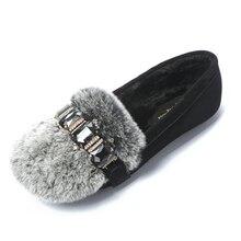 2017 Зимние случайные скольжения на женщин кожа большие размеры балета квартиры мягкая обувь мода женский кристалл круглый носок обуви zapatillas mujer