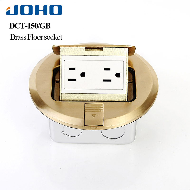 JOHO 6 Holepower Socket Presa Universale Round Type Floor Receptacle UL Listed 15A 125V Pop Up Type Plug In Socket brass slow pop up floor socket box with 15a 125v us socket rj45 computer data