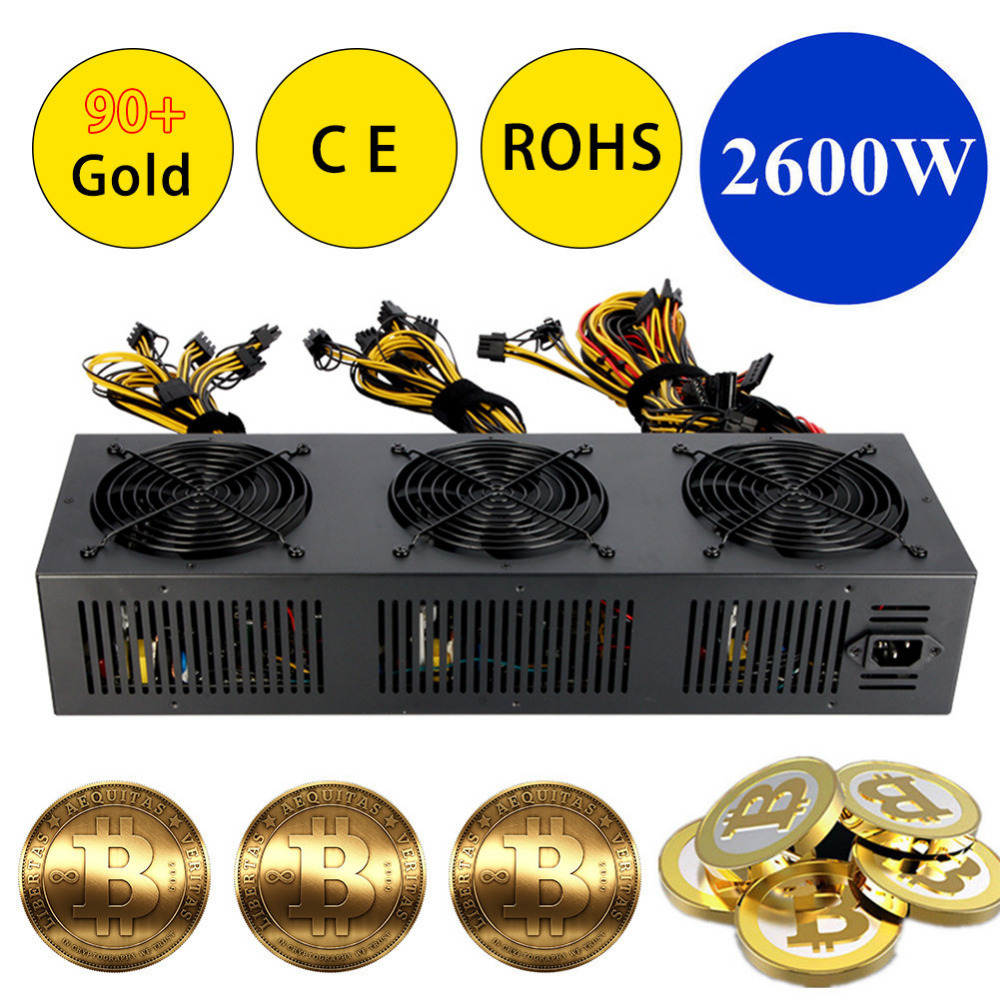 Brand New 2600W ATX Power Supply For Eth Rig Ethereum Coin Miner Supports 12 Graphics Overclocking 90+ Gold 24PIN Power Supply