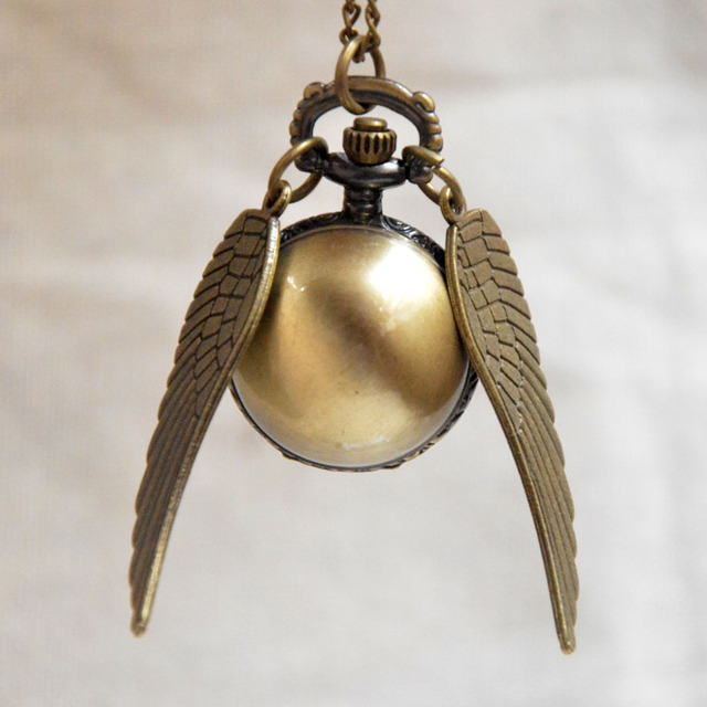 Men Women Bronze Harry Potter Golden Snitch Wings Quartz Pocket Watch Necklace C