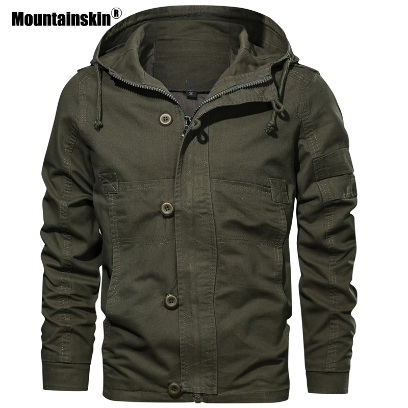 Mountainskin Autumn Hooded Men's Jacket 2020 New Mens Military Casual Coat Fashion Slim Fit Male Brand Clothing EU Size SA725