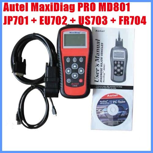 2012 Leitor de Código de Autel MaxiDiag PRO MD801 4 em 1 (JP701 + EU702 + + US703 FR704) frete Grátis