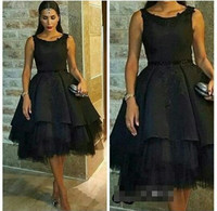 A Line Tea Length Scoop Tulle Dubai Ladies Formal Gowns Short Black Evening Dresses For Wedding