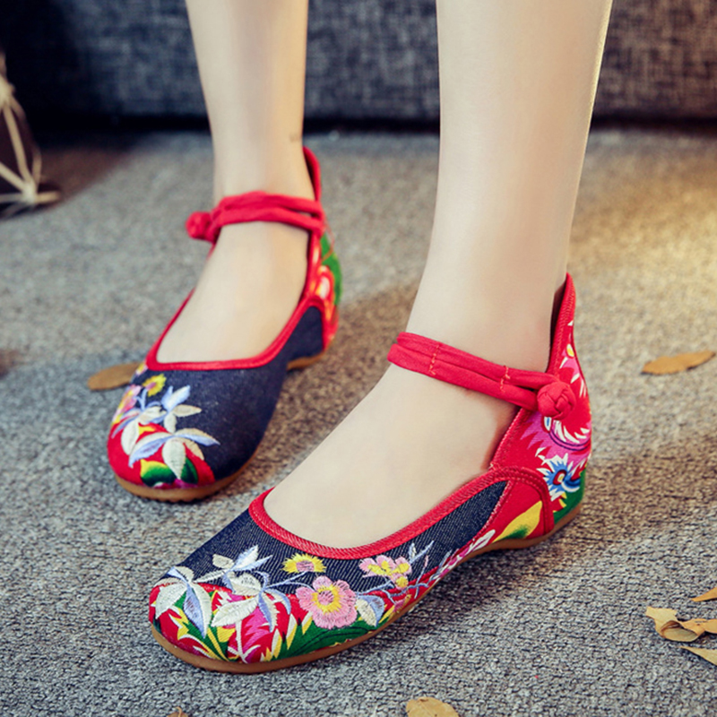 Telosma cordata flowers fashion embroidery women flats shoes vintage Sexy mary Janes oxford shoes women Chinese