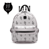 FULANPERS Mini Studded Backpack Female Quilted Leather Printing School Bags White Back Pack Rivet Backpacks For