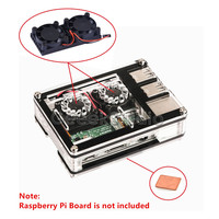 Dual Fan Double Cooling Fans With Sliced 9 Layers Acrylic Case Box And Heatsink For Raspberry